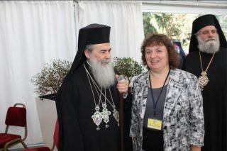 Патриарх Иерусалимский Феофил ІІІ и Элеонора Гройсман